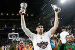 Real Madrid's Andres Nocioni celebrates the victory in the Euroleague Final Match. May 15,2015. (ALTERPHOTOS/Acero)