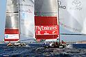 Louis Vuitton Trophy La Maddalena 29 maggio 2010. Acrobazie del prodiere di All4One durante una sfida con Emirates Team New Zealand