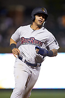 Gleyber Torres (7) of the Scranton/Wilkes-Barre RailRiders runs the bases during the game against the Charlotte Knights at BB&T BallPark on April 12, 2018 in Charlotte, North Carolina.  The RailRiders defeated the Knights 11-1.  (Brian Westerholt/Four Seam Images)