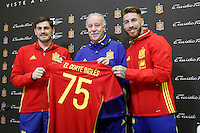 Iker Casillas, coach Vicente del Bosque and Sergio Ramos during comercial event during Spanish national football team stage. March 22,2016. (ALTERPHOTOS/Acero)