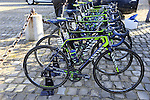 Movistar Team Canyon bikes lined up outside the team bus at sign on before the start of the 113th edition of the Paris-Roubaix 2015 cycle race held over the cobbled roads of Northern France. 12th April 2015.<br /> Photo: Eoin Clarke www.newsfile.ie