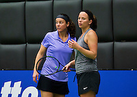Rotterdam, Netherlands, December 17, 2015,  Topsport Centrum, Lotto NK Tennis, Ladys doubles: Nicolette van Uitert (R) and Kim Kilsdonk (NED)<br /> Photo: Tennisimages/Henk Koster