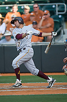 Arizona State Sun Devil shortstop Deven Marrero #17 follows through in the first inning against the Texas Longhorns in NCAA Tournament Super Regional baseball on June 10, 2011 at Disch Falk Field in Austin, Texas. (Photo by Andrew Woolley / Four Seam Images)