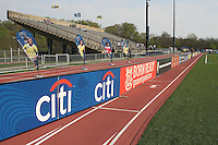 Boards, banners, and flags adorn the stadium at the Philly home opener.  Philadelphia hosted the Atlanta Beat in the inaugural game for both teams at John A Farrell Stadium in West Chester, PA.  The game ended in a scoreless tie.