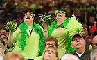 Mar. 31, 2014; Irish fans cheer during the regional final against Baylor in the 2014 NCAA Tournament at the Purcell Pavilion. Notre Dame won 88-69. Photo by Barbara Johnston/University of Notre Dame