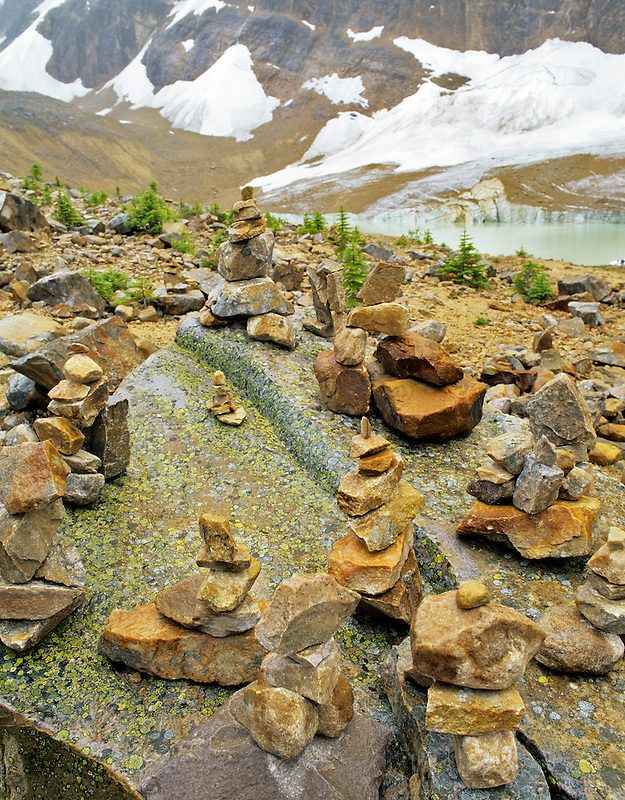 Rock Trail markers on trail to Mt. Edith Cavell. Jasper National Park, Canada