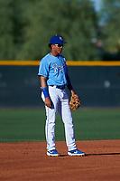 AZL Royals shortstop Enrique Valdez (4) during an Arizona League game against the AZL Brewers Blue at Surprise Stadium on June 18, 2019 in Surprise, Arizona. AZL Royals defeated AZL Brewers Blue 12-7. (Zachary Lucy/Four Seam Images)