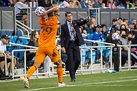 SAN JOSE, CA - JULY 24: Tab Ramos Coach of the Houston Dynamo directs the players during a game between San Jose Earthquakes and Houston Dynamo at PayPal Park on July 24, 2021 in San Jose, California.
