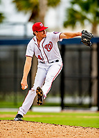 22 February 2019: Washington Nationals pitcher James Bourque on the mound during a Spring Training workout at the Ballpark of the Palm Beaches in West Palm Beach, Florida. Mandatory Credit: Ed Wolfstein Photo *** RAW (NEF) Image File Available ***