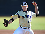 UC Davis' Spencer Henderson pitches in a college baseball game between the Washington Huskies and the UC Davis Aggies in Davis, Ca., on Sunday, Feb. 17, 2013. Davis won 7-5 to finish their season opening series 3-1. .Photo by Cathleen Allison