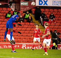 11th February 2021; Oakwell Stadium, Barnsley, Yorkshire, England; English FA Cup 5th round Football, Barnsley FC versus Chelsea; Emerson Palmieri of Chelsea wins a clearing header from danger