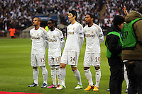 Pictured: (L-R) Wayne Routledge, Nathan Dyer, Ki Sung-Yueng, Jonathan De Guzman. Sunday 24 February 2013<br /> Re: Capital One Cup football final, Swansea v Bradford at the Wembley Stadium in London.