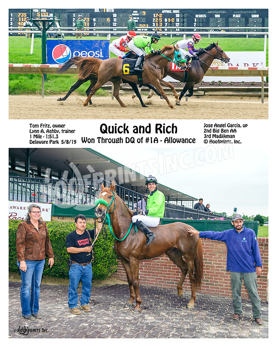 Quick and Rich in the winners circle after being put up through DQ of #1A Madjikman at Delaware Park on 5/6/19