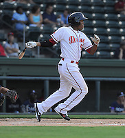 Right fielder Henry Ramos (51) of the Greenville Drive in a game against the Rome Braves on July 6, 2012, at Fluor Field at the West End in Greenville, South Carolina. Greenville won, 4-0. (Tom Priddy/Four Seam Images)