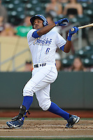 Omaha Storm Chasers Tony Abreu (6) swings at a pitch during the game against the Reno Aces at Werner Park on August 3, 2012 in Omaha, Nebraska.(Dennis Hubbard/Four Seam Images)