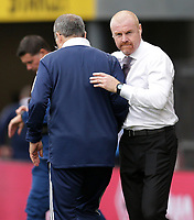 29th August 2021; Turf Moor, Burnley, Lancashire, England; Premier League football, Burnley versus Leeds United: Leeds United manager Marco Bielsa shakes hands with Burnley manager Sean Dyche as the match ends in a 1-1 draw