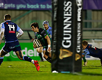 20th February 2021; Galway Sportsgrounds, Galway, Connacht, Ireland; Guinness Pro 14 Rugby, Connacht versus Cardiff Blues; Connacht winger Alex Wootton runs over the line for his second try of the match in the 40th minute