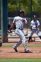 AZL Indians Red Marlin Made (22) at bat during an Arizona League game against the AZL Indians Blue on July 7, 2019 at the Cleveland Indians Spring Training Complex in Goodyear, Arizona. The AZL Indians Blue defeated the AZL Indians Red 5-4. (Zachary Lucy/Four Seam Images)