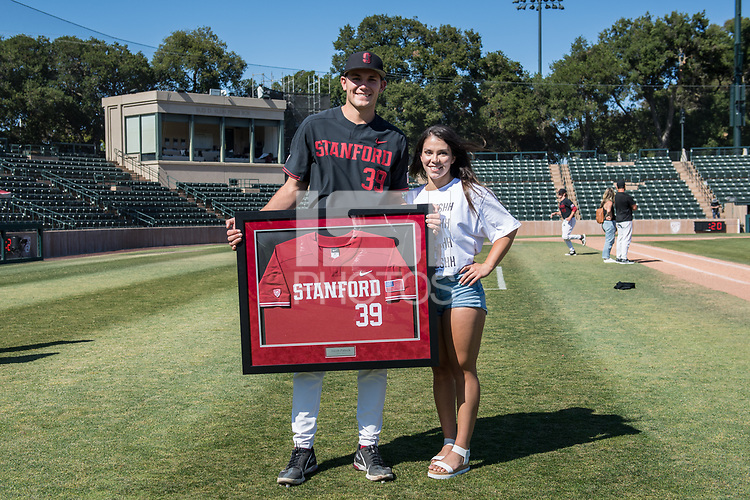 STANFORD, CA - MAY 29: Jacob Palisch, Grace Garcia after a game between Oregon State University and Stanford Baseball at Sunken Diamond on May 29, 2021 in Stanford, California.