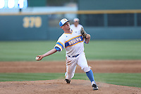 David Berg (26) of the UCLA Bruins pitches during a game against the Oregon State Beavers at Jackie Robinson Stadium on April 4, 2015 in Los Angeles, California. UCLA defeated Oregon State, 10-5. (Larry Goren/Four Seam Images)