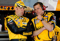 Feb 07, 2009; Daytona Beach, FL, USA; NASCAR Sprint Cup Series driver Matt Kenseth (left) talks with crew chief Drew Blickensderfer during practice for the Daytona 500 at Daytona International Speedway. Mandatory Credit: Mark J. Rebilas-