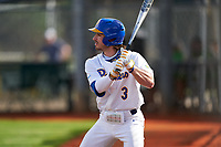 Pitt Panthers Sky Duff (3) on deck during the teams opening game of the season against the Indiana State Sycamores on February 19, 2021 at North Charlotte Regional Park in Port Charlotte, Florida.  (Mike Janes/Four Seam Images)