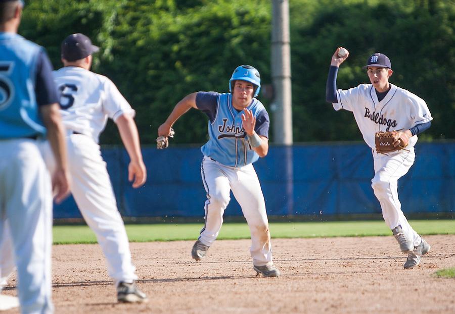 Westerly, RI High School Baseball playoff game against Johnston High School.