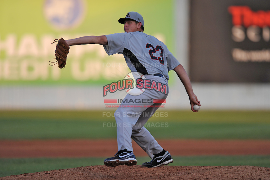 Hickory Crawdads Nick Tepesh#23 delivers a pitch during a  game against the Asheville Tourists at McCormick Field in Asheville,  North Carolina;  June 13, 2011.  The Crawdads won the game 10-7.  Photo By Tony Farlow/Four Seam Images