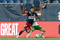 FOXBOROUGH, MA - AUGUST 26: Nicolas Firmino #29 of New England Revolution II works to clear ball as Carlos Gomez #10 of Greenville Triumph SC defends during a game between Greenville Triumph SC and New England Revolution II at Gillette Stadium on August 26, 2020 in Foxborough, Massachusetts.