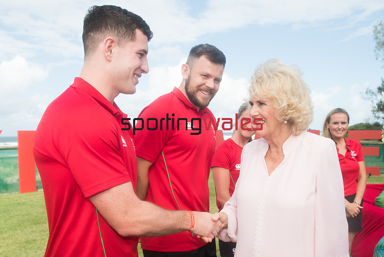 Camilla, Duchess of Cornwall meets Owen Jenkins, Rugby 7's<br /> <br /> *This image must be credited to Ian Cook Sportingwales and can only be used in conjunction with this event only*<br /> <br /> 21st Commonwealth Games  -  Day 1- 05\04\2018 - Kurrawa Surf Club - Gold Coast City - Australia