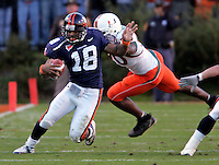 UVa football quarterback Marquis Hagans for the Virginia Cavaliers playing in Scott Stadium at the University of Virginia in Charlottesville, VA. Photo/Andrew Shurtleff.