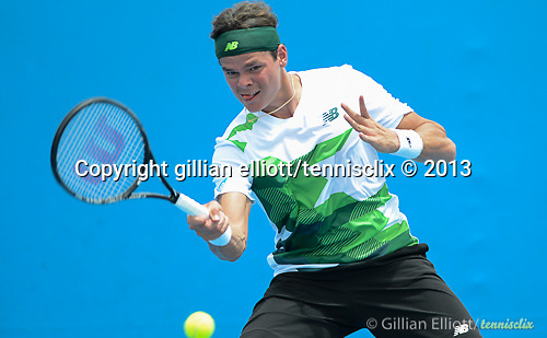 Milos Raonic (CAN) wins at Australian Open in Melbourne Australia on 17th January 2013