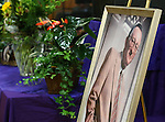 A portrait of former Nevada Assembly Speaker Joe Dini is displayed at his funeral at Yerington High School, on Tuesday, April 15, 2014, in Yerington, Nev. (Las Vegas Review-Journal/Cathleen Allison)
