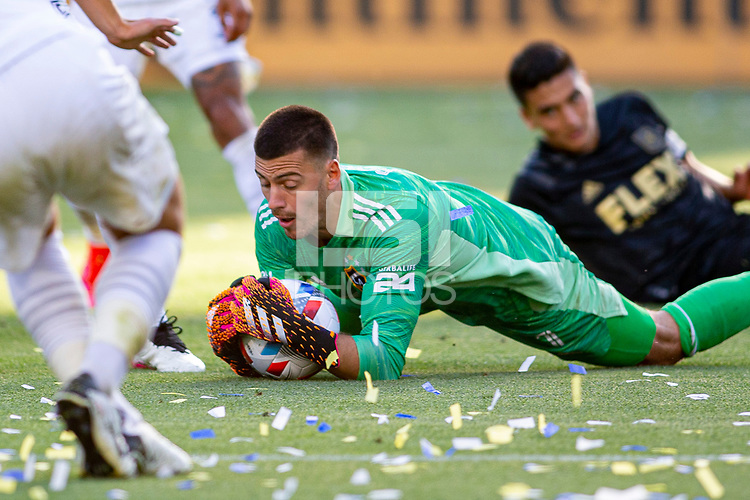 CARSON, CA - MAY 8: Jonathan Bond #1 of the Los Angeles Galaxy comes up with a save during a game between Los Angeles FC and Los Angeles Galaxy at Dignity Health Sports Park on May 8, 2021 in Carson, California.