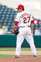 Richard Castillo (27) of the Springfield Cardinals on the mound during a game against the Midland RockHounds on April 19, 2011 at Hammons Field in Springfield, Missouri.  Photo By David Welker/Four Seam Images