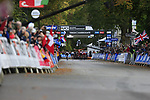 Nils Eekhoff (NED) wins the sprint from Samuele Battistella (ITA), Stefan Bissegger (SUI), Thomas Pidcock (GBR), Tobias Foss and Sergio Andreas Higuita (COL) across the finish line of the Harrogate circuit but is subsequently disqualified at the end of the Men U23 Road Race of the UCI World Championships 2019 running 186.9km from Doncaster to Harrogate, England. 27th September 2019.<br /> Picture: Eoin Clarke | Cyclefile<br /> <br /> All photos usage must carry mandatory copyright credit (© Cyclefile | Eoin Clarke)