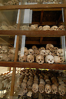 Skulls, Choeng Ek Killing Fields memorial where thousands were executed and buried in shallow graves, during the Cambodian Genecide of 1975 - 1979 where over 1.7 million were executed outside Phnom Penh, Cambodia, 30 October 2007.  Kaing Guek Eav know as duch the commander of the torture house known as S-21 or Tuol Sleng prison was put on trial yesterday 21 Nov 2007 after 28 years.