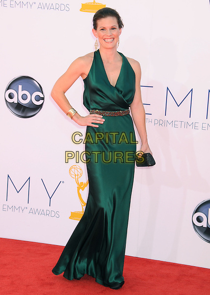 Sophie McShera.The 64th Anual Primetime Emmy Awards held at Nokia Theatre L.A. Live in Los Angeles, California, USA..September 23rd, 2012.emmys full length dress hand on hip green gold belt black clutch bag.CAP/ADM/BP.©Byron Purvis/AdMedia/Capital Pictures.