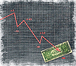 Conceptual illustration of arrow sign smashing currency indicating wrong investment