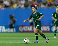 GRENOBLE, FRANCE - JUNE 18: Katrina Gorry #19 of the Australian National Team dribbles at midfield during a game between Jamaica and Australia at Stade des Alpes on June 18, 2019 in Grenoble, France.