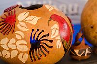 Beautiful painted Hawaiian gourds, (ipus) displayed at a craft fair, Honolulu, O'ahu.