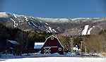 Sugarbush's Mt. Ellen with a Waitsfield farm in the foreground.