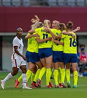 TOKYO, JAPAN - JULY 21: Sweden celebrates goal during a game between Sweden and USWNT at Tokyo Stadium on July 21, 2021 in Tokyo, Japan.