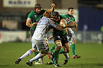 Ray Ofisa crashes into Paul Tito..RaboDirect Pro12.Cardiff Blues v Connacht.Cardiff Arms Park..10.02.12.©Steve Pope