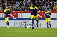 Thursday 08 August 2013<br /> Pictured: Wilfried Bony of Swansea charging towards Malmo's defence<br /> Re: Malmo FF v Swansea City FC, UEFA Europa League 3rd Qualifying Round, Second Leg, at the Swedbank Stadium, Malmo, Sweden.