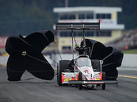 Oct. 7, 2012; Mohnton, PA, USA: NHRA top fuel dragster driver David Grubnic during qualifying for the Auto Plus Nationals at Maple Grove Raceway. Mandatory Credit: Mark J. Rebilas-