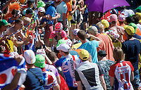 Jose Rodolfo Serpa (COL/Lampre-Merida) experiencing the craziness at the Dutch Corner (nr7) up Alpe d'Huez<br /> <br /> stage 20: Modane Valfréjus - Alpe d'Huez (111km)<br /> 2015 Tour de France