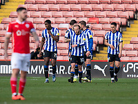 20th March 2021, Oakwell Stadium, Barnsley, Yorkshire, England; English Football League Championship Football, Barnsley FC versus Sheffield Wednesday; Jordan Rhodes of Sheffield Wednesday celebrates with team-mates after making it 2-0 after 53 minutes