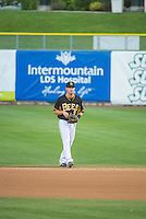 Alex Yarbrough (9) of the Salt Lake Bees on defense against the Tacoma Rainiers in Pacific Coast League action at Smith's Ballpark on May 7, 2015 in Salt Lake City, Utah.  (Stephen Smith/Four Seam Images)