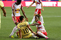 Harrison, NJ - Wednesday July 06, 2016: Osvaldo Martinez, Junior Flemmings during a friendly match between the New York Red Bulls and Club America at Red Bull Arena.